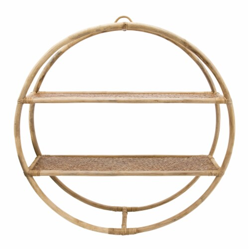 Rattan, 29  Round Shelf, Natural Perspective: front