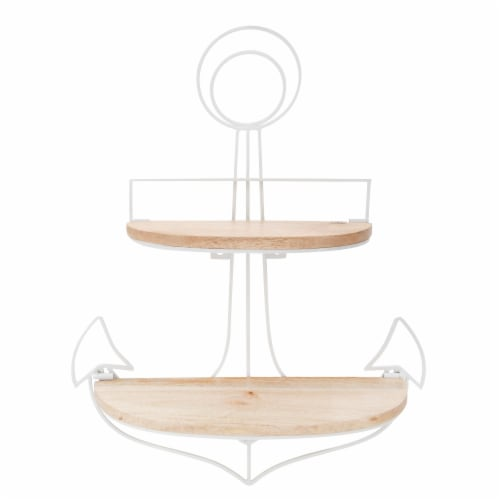 Metal, 24 H Anchor Wall Shelf, Brown/Wht Perspective: front