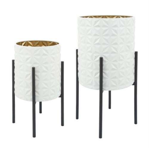 S/2 Aztec Planter On Metal Stand, Wht/Gld/Blk Perspective: front