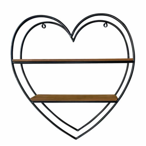 Metal/Wood 20 H Heart Shaped Wall Shelf, Brown Perspective: front