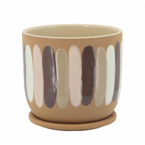 8  Stripes Planter W/ Saucer, Tan Perspective: front
