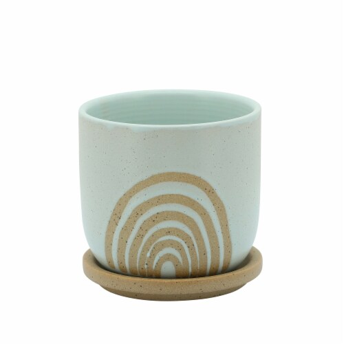 5  Arch Planter W/ Saucer, Mint Perspective: front