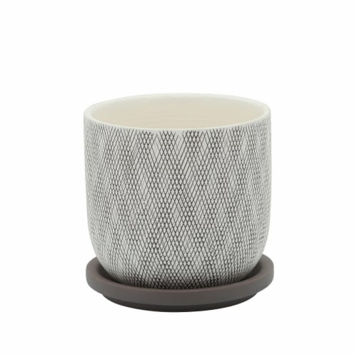 5  Mesh Planter W/ Saucer, Sage Perspective: front