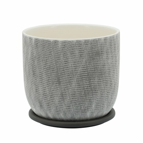 8  Mesh Planter W/ Saucer,  Sage Perspective: front