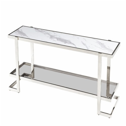 Metal/Marble Glass, Console Table, Silver/White Perspective: front