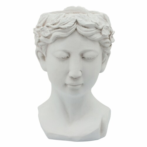Resin, 9  Lady Head Planter, White Perspective: front