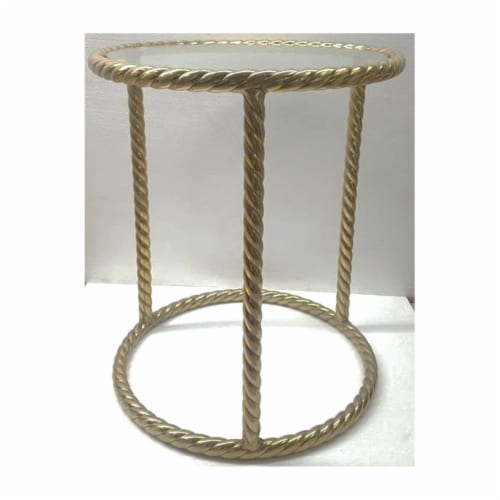 Metal 22 H Rope Side Table, Gold Perspective: front