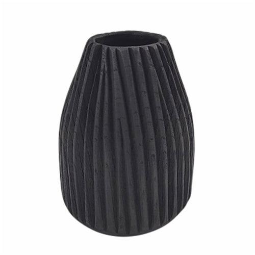 Wood, 8  Ridged Vase, Black Perspective: front