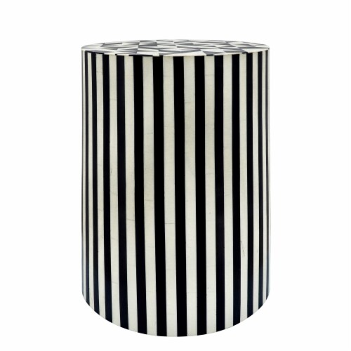 Resin 19 H Pinwheel Round Accent Table,Black Perspective: front