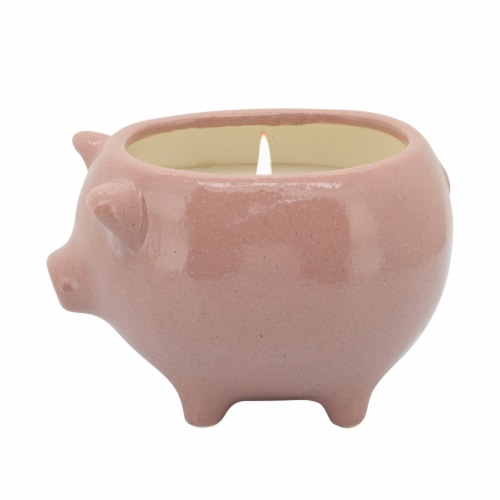 6   Pig Scented Candle, Pink Perspective: front