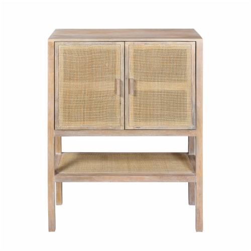Wood, 35X48 2-Rattan Door Cabinet, Natural Perspective: front