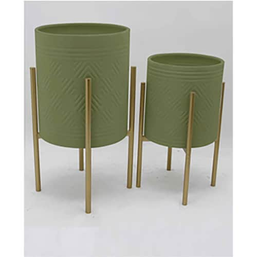 S/2 Aztec Planter On Metal Stand, Olive/Gold Perspective: front