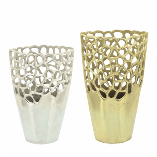 Metal 12 H Cut-Out Vase, Silver Perspective: front