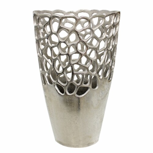 Metal 15 H Cut-Out Vase, Silver Perspective: front