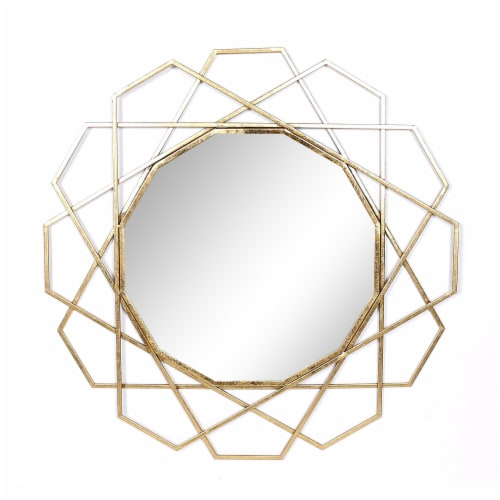 Metal 35  Geometric Mirror, Gold Wb Perspective: front