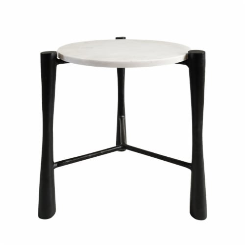 Marble, 20 H, Round Table, White/Black Perspective: front