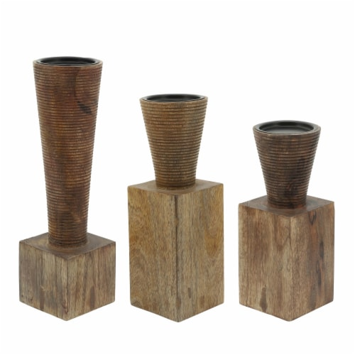 Wood, 11 H, Geometric Candle Holder, Brown Perspective: front