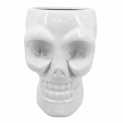 Cer, 8  Skull Vase, White Perspective: front