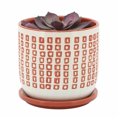 Cer, 6  Planter W/ Saucer, Orange Perspective: front
