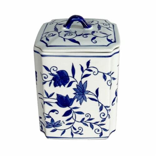 Cer, 8 H Box Jar W/ Lid, Blue Perspective: front