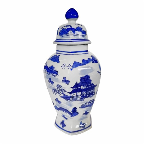 Cer,15 H Scenic Temple Jar, Blue Perspective: front