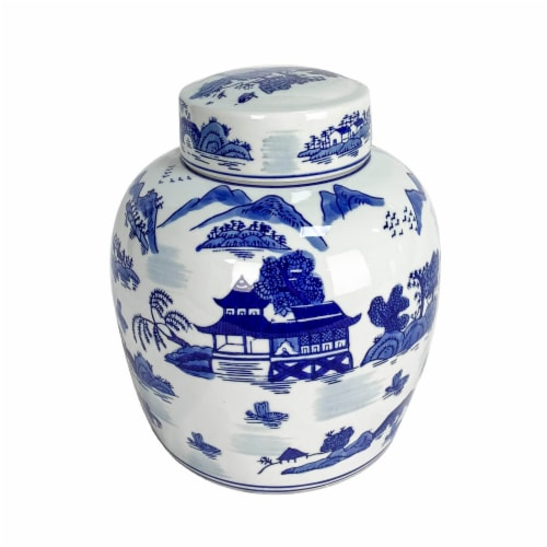 Cer, 9 H Rounded Jar W/ Lid, Blue Perspective: front