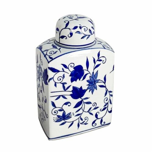 Cer, 9  Rectangular Jar, Blue Perspective: front