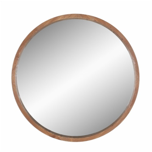Wood, 32  Round Mirror, Brown Wb Perspective: front