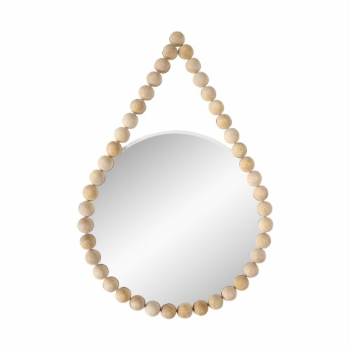 Wood, 36  Beaded Mirror, White Wb Perspective: front