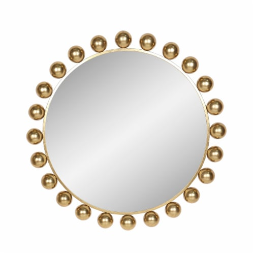 Metal, 42 H, Round Mirror, Gold Perspective: front