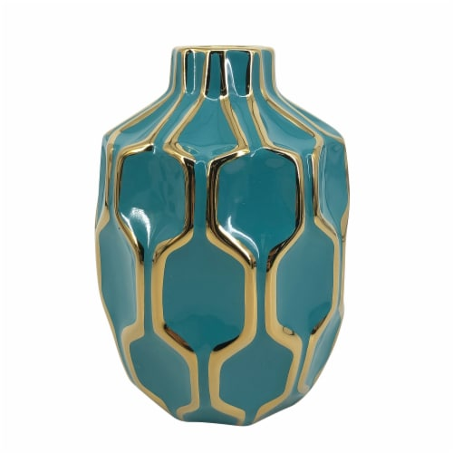 Cer Vase 8 , Turq/Gold Perspective: front