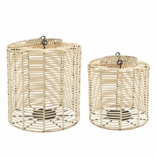 Rattan, S/2 15/18  Hurricane Candle Holder, Nat Perspective: front
