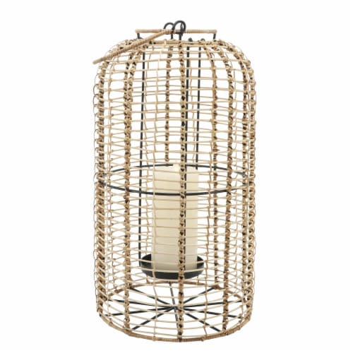 Rattan, S/2 10/13  Hurricane Candle Holder, Nat Perspective: front