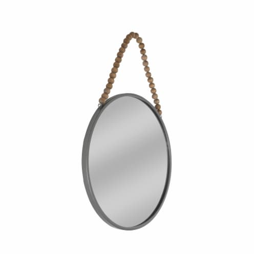 Metal, 24   Round Mirror W/ Beads, Gunmetal Wb Perspective: front