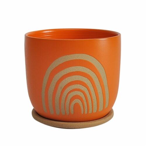 Cer, 8  Arch Planter W/ Saucer, Orange Perspective: front
