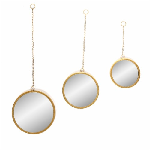 Metal, 32 H, Round Hanging Mirrors, Gold Perspective: front
