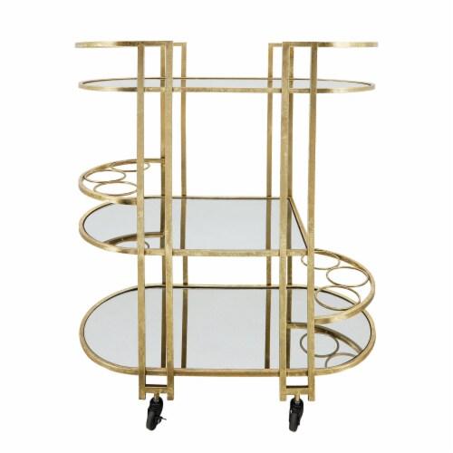 Metal, 37 H 3-Layered Bar Cart, Gold Perspective: front