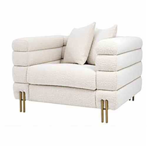 Stainless Steel, Bolstered Single Seater Sofa, White Perspective: front