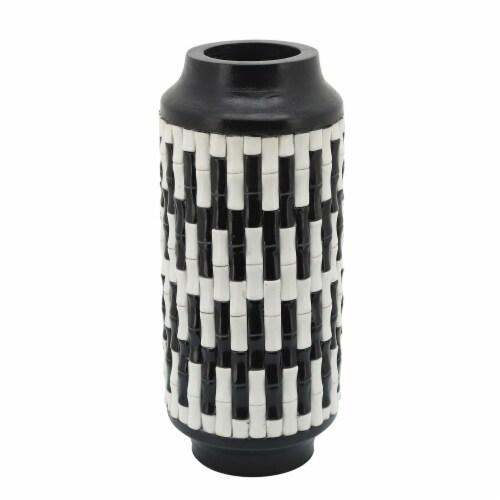 Resin, 14 H Tribal Vase, Black/White Perspective: front