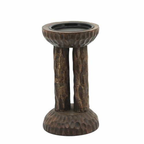 Wood, 8 H Hammered Candle Holder, Brown Perspective: front