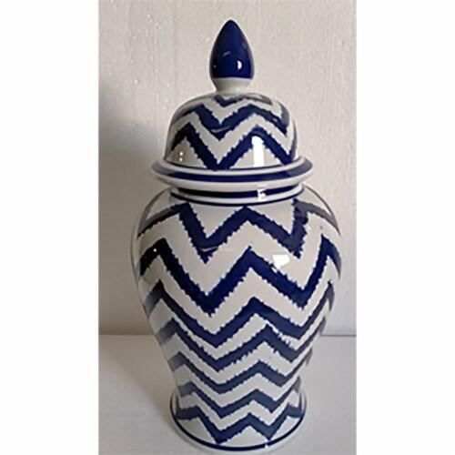 Cer, 14 H Chevron Temple Jar, Wht/Blu Perspective: front