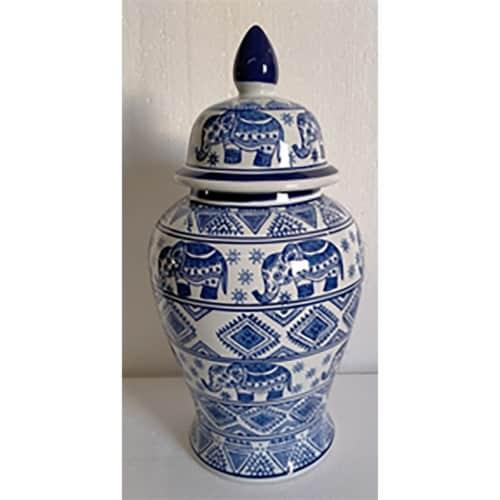 Cer, 18 H Elephant Temple Jar, Wht/Blu Perspective: front