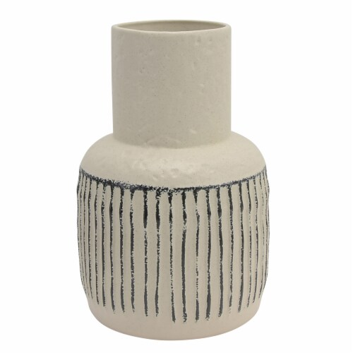 Cer, 12 H Tribal Vase, Ivory Perspective: front