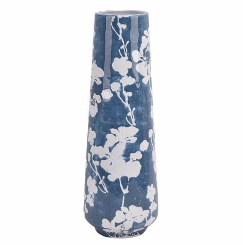 Cer 19  Floral Vase, Skyblu/White Perspective: front