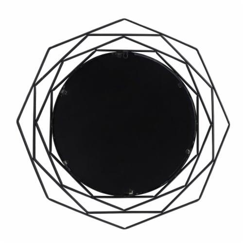 Metal, 28  Octagonal Mirror, Black Perspective: front