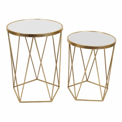Metal, S/2 20/24 H Side Tables Mirror Top, Gold Perspective: front