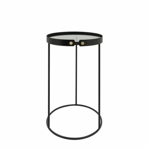 Metal, S/2 21/23  H Round Side Tables W/ Smokey Gl Perspective: front