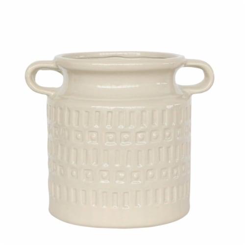 Cer, 7 H Jar W/ Handles, Beige Perspective: front