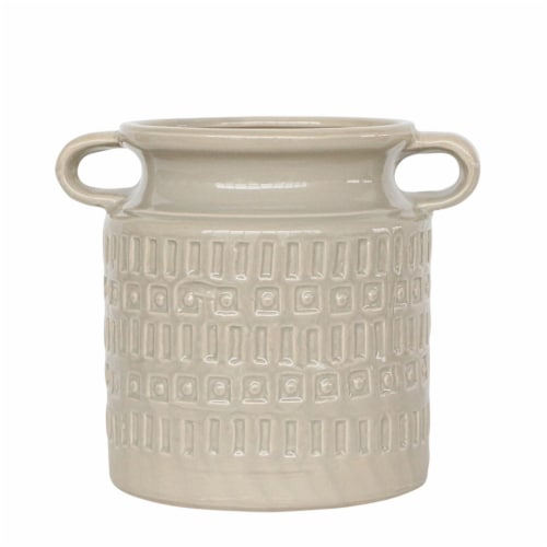 Cer, 7 H Jar W/ Handles, Gray Perspective: front