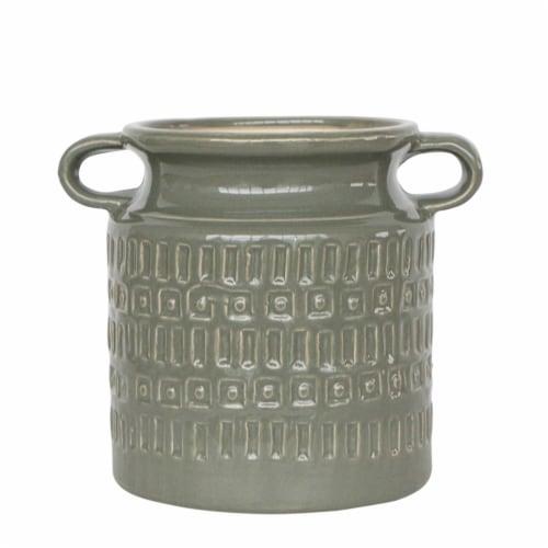 Cer, 7 H Jar W/ Handles, Olive Perspective: front